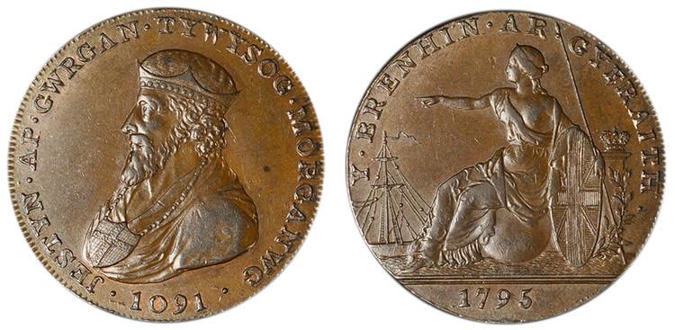 Taitt, Crawshay, & Homfray, Copper Halfpenny, 1795 (D&H Glamorganshire 3a)