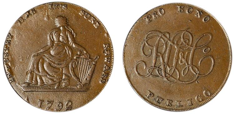 R. L. T. & Co., Copper Halfpenny, 1792 (D&H Dublin 355)