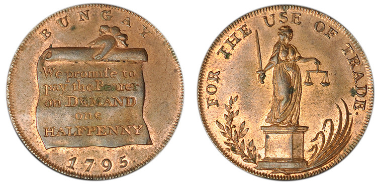 Prentice, Delf, & Abel, Copper Halfpenny, 1795 (D&H Suffolk 21)