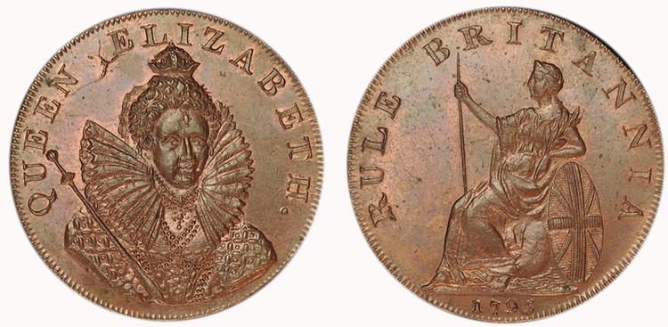 Peter Kempson, Chichester Halfpenny Mule with ONE CENT edge, c1795 (D&H Sussex 17b)