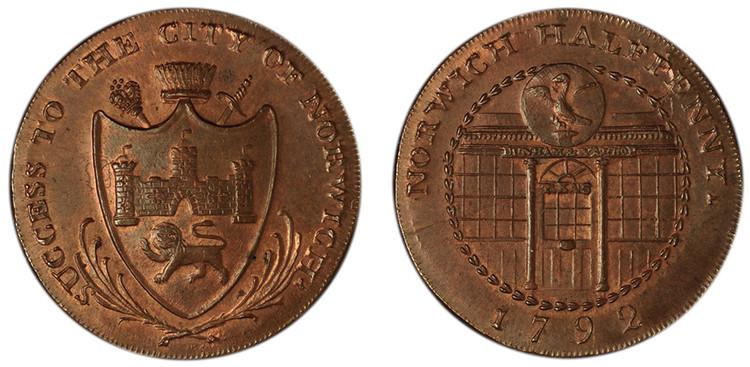 Dunham & Yallop, Copper Halfpenny, 1792  (D&H Norfolk 28)