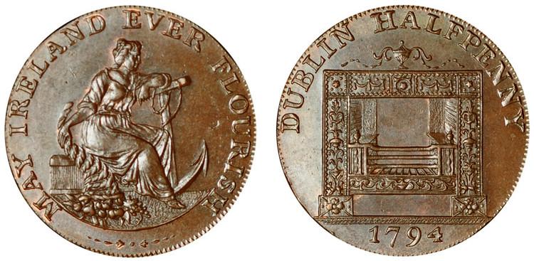William Parker, Copper Halfpenny, 1794 (D&H Dublin 351)