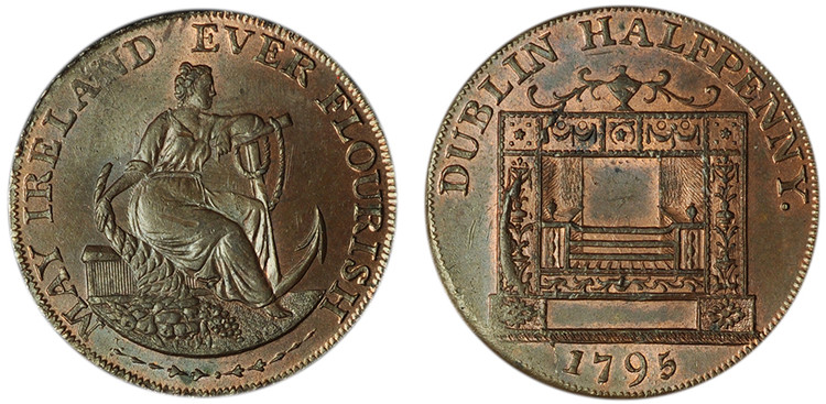 William Parker, Copper Halfpenny, 1795  (D&H Dublin 352b)