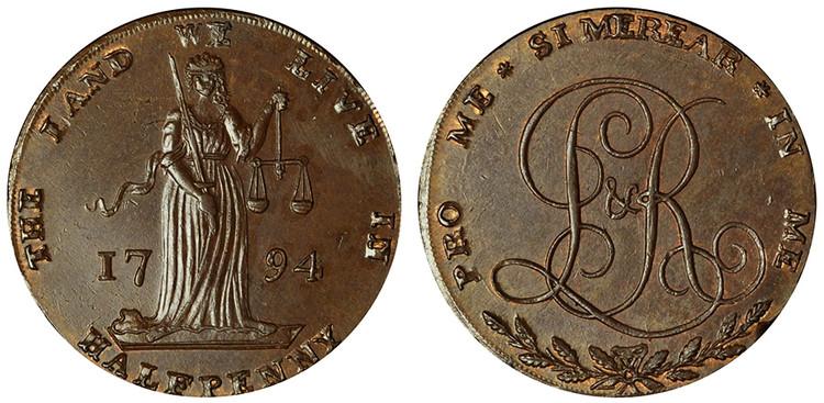 Lloyd & Ridley, Copper Halfpenny, 1794  (D&H Dublin 338)