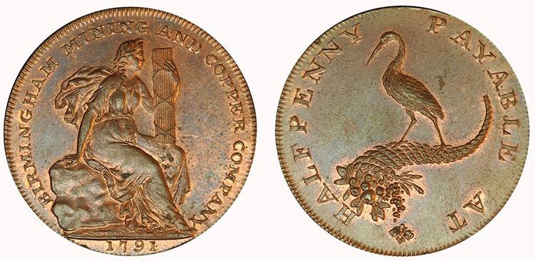 Birmingham Mining & Copper Co., Copper Halfpenny, 1791  (D&H Warwickshire 82)