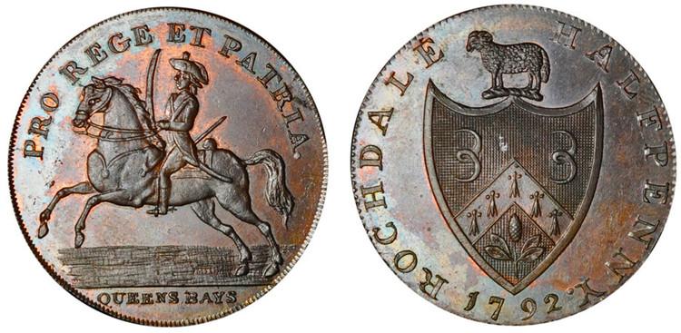 Peter Kempson, Copper Halfpenny Mule, 1792  (D&H Lancashire 149)