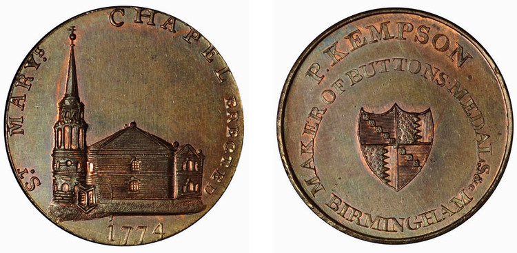 Peter Kempson, Copper Halfpenny  (D&H Warwickshire 156)
