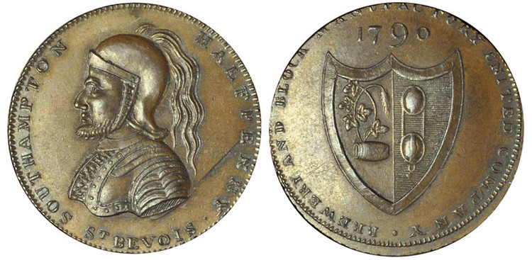 Jacobs' Copy of Westwood's Taylor, Moody & Co. Copper Halfpenny, c1795, (D&H Hampshire 86b)