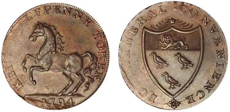William Fuggle, Copper Halfpenny, 1794  (D&H Kent 28a)