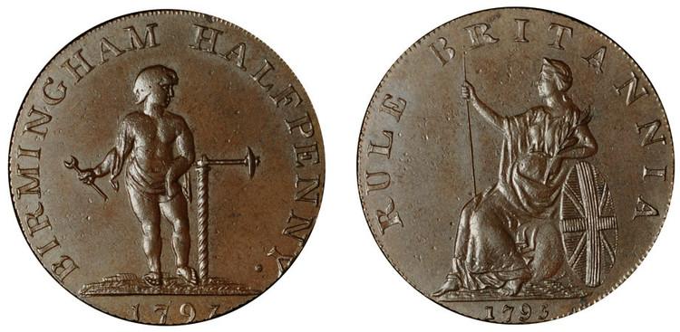 Peter Kempson, Birmingham Halfpenny Mule, c1795 (D&H Warwickshire 53)