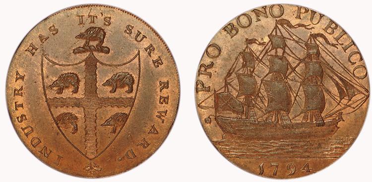 Peter Kempson, Copper Halfpenny Mule, c1794  (D&H Warwickshire 59)