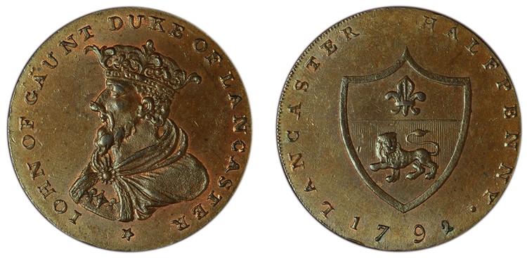 William Lutwyche, imitation Halfpenny of Thomas Worswick & Sons, c1792 (D&H Lancashire 29)