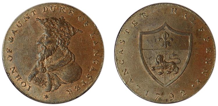 William Lutwyche, Imitation Halfpenny of Thomas Worswick & Sons, c1792 (D&H Lancashire 30)