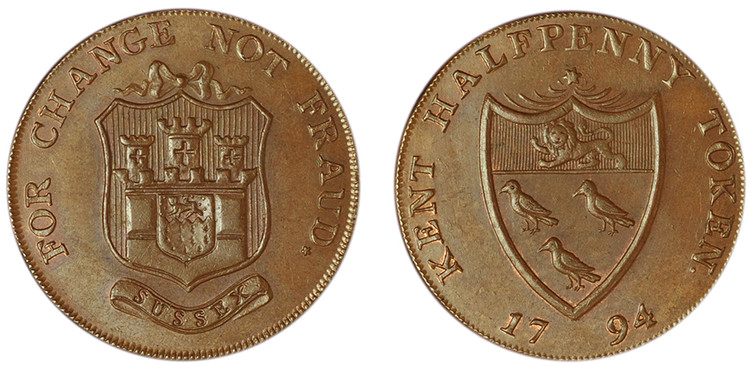 John Gibbs, Copper Halfpenny, 1794  (D&H Kent 35)