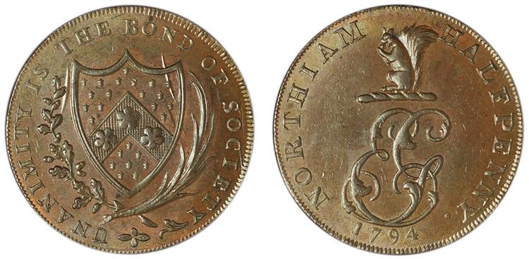 Elias Gilbert, Copper Halfpenny, 1794 (D&H Sussex 35)