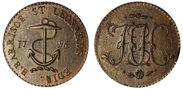 Henry Harrison, Copper Halfpenny, 1796  (D&H Lothian 20)
