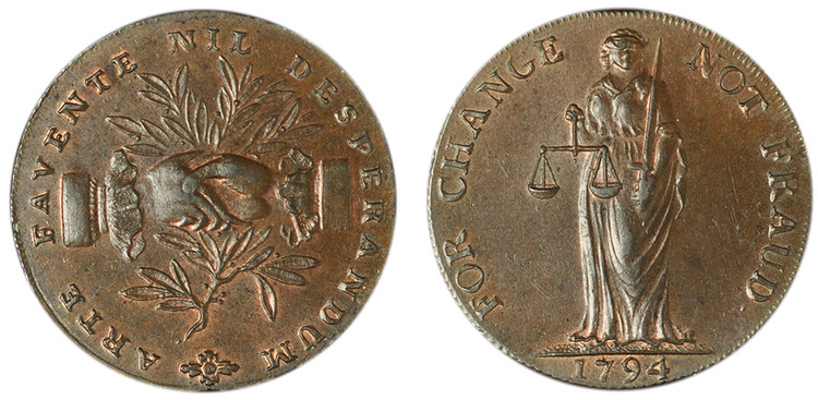 William Lutwyche, Copper Halfpenny, c1794 (D&H Staffordshire 17)