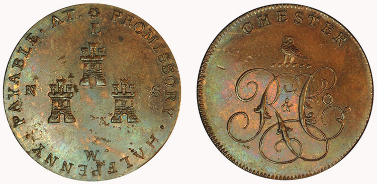 Roe & Company, Copper Halfpenny  (D&H Cheshire 5)