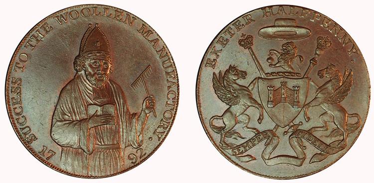 Samuel Kingdon, Copper Halfpenny, 1792  (D&H Devonshire 1)
