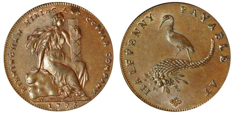 Birmingham Mining & Copper Company, Copper Halfpenny, 1793  (D&H Warwickshire 116)