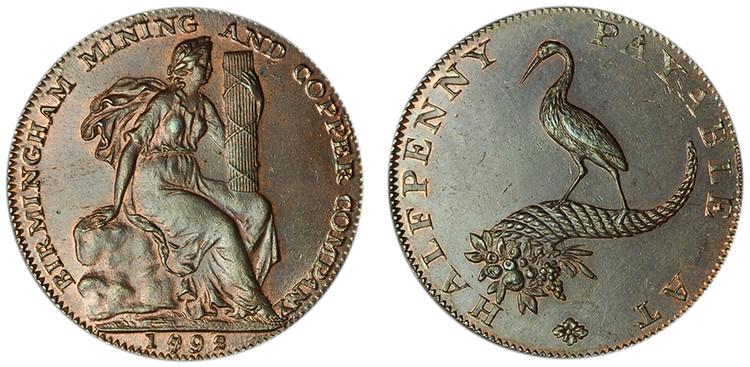Birmingham Mining & Copper Company, Copper Halfpenny, 1792/1992   (D&H Warwickshire 90)