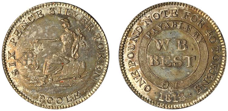 W. B. West, Dorsetshire, Poole, 6d, 1812 (Dalton 10)