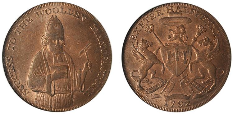 Samuel Kingdon, Copper 1/2d, 1792 from the James Watt Jr. Collection (D&H Devonshire 2)