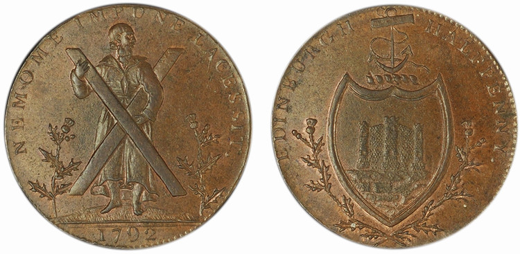 A curious imitation halfpenny of Thomas & Alexander Hutchinson, 1792 (D&H Lothian 48)