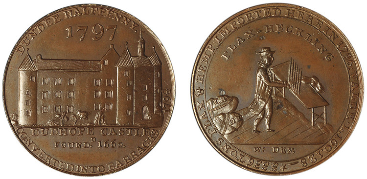 Dundee Bronzed Copper Halfpenny, 1797 (D&H Angusshire 18)