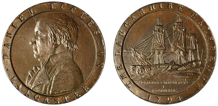 Daniel Eccleston, Copper Halfpenny, 1794 (D&H Lancashire 58)