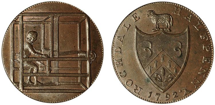 John Kershaw, Copper Halfpenny, 1792 (D&H Lancashire 146)