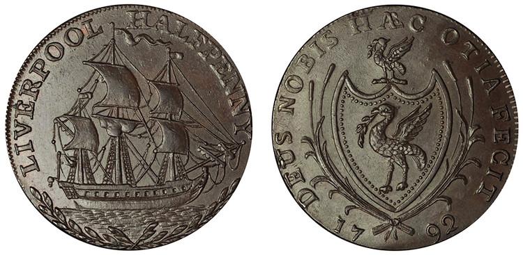 Thomas Clarke, Copper Halfpenny, 1792  (D&H Lancashire 102)