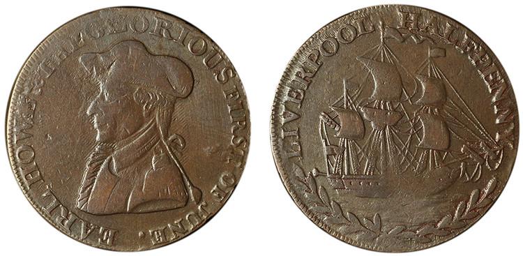 William Lutwyche, Copper 1/2d with Asylum Edge (D&H Lancashire 120a)