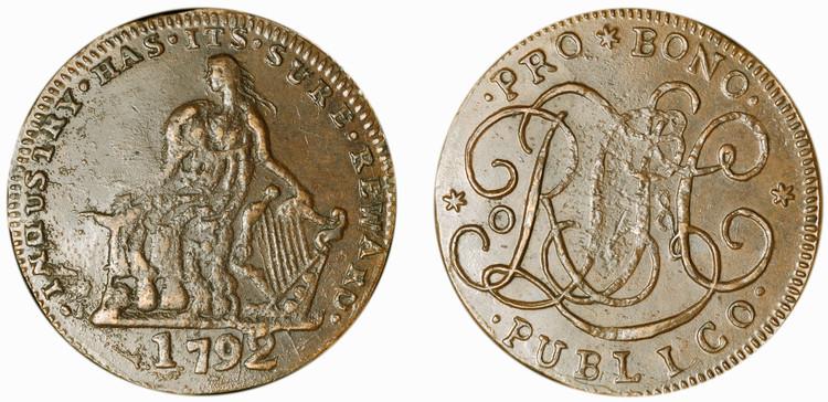 R. L. T. & Co. Copper 1/2d, 1792 (Dublin 369bis)
