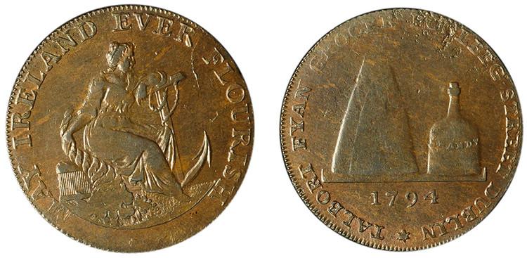Talbort Fyan, Copper 1/2d, 1794 (D&H Dublin 309c)