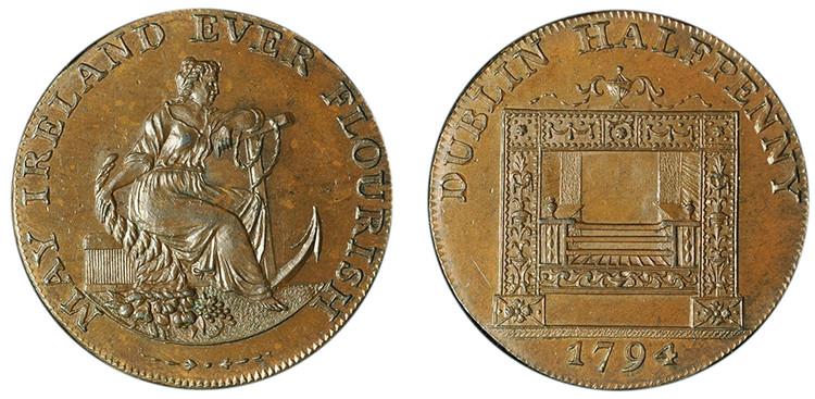 William Parker, Copper 1/2d, 1794 (D&H Dublin 351)