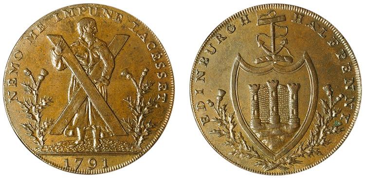 Counterfeit Thomas and Alexander Hutchison, Copper 1/2d, 1791 (D&H Lothian 40)