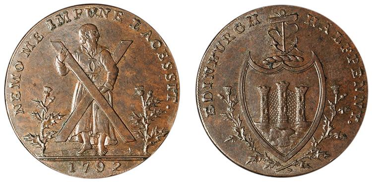 Thomas and Alexander Hutchison, Copper 1/2d, 1792 (D&H Lothian 45)