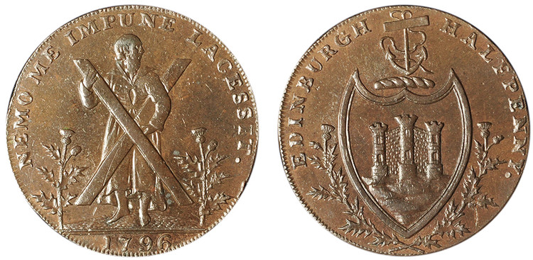 Counterfeit Thomas and Alexander Hutchison, Copper 1/2d, 1796 (D&H Lothian 49)
