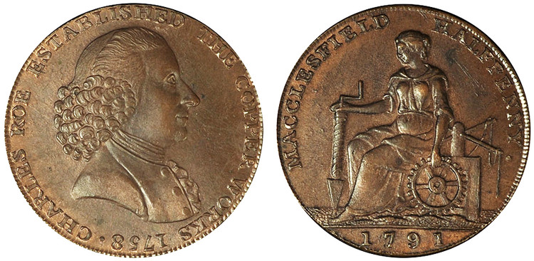 William Roe, Copper Halfpenny, 1791  (D&H Cheshire 33)