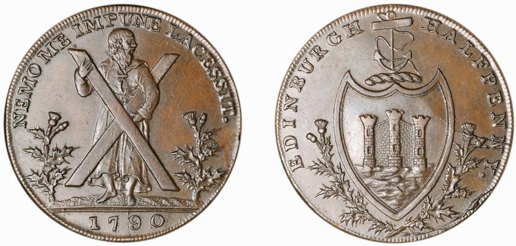 Thomas and Alexander Hutchison, Copper 1/2d, 1790  (D&H Lothian 28)