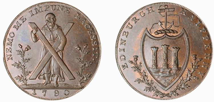 Thomas and Alexander Hutchison, Copper 1/2d, 1790  (D&H Lothian 23)