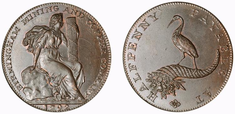 Birmingham Mining & Copper Company, Copper 1/2d, 1792 (D&H Warwickshire 97)