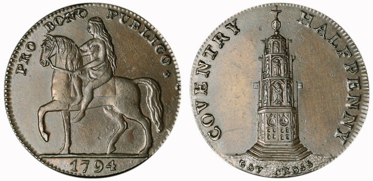 Reynolds & Co., Copper Halfpenny, 1794 (D&H Warwickshire 249)