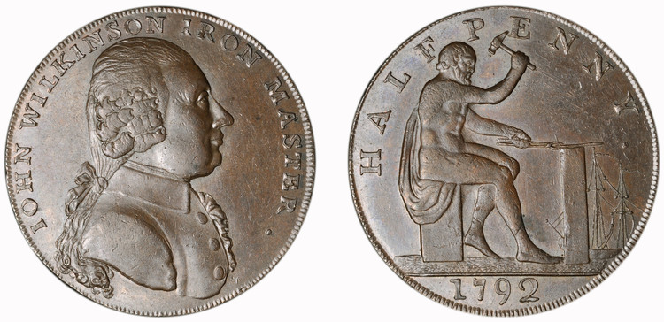 John Wilkinson, Copper 1/2d, 1792 (D&H Warwickshire 448)