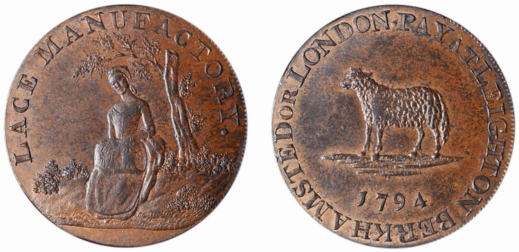Chambers, Langston, Hall & Co., Copper 1/2d, 1794 (D&H Bedfordshire 3c)