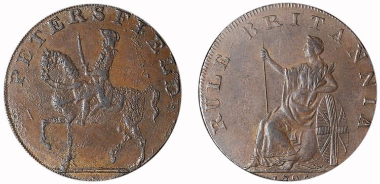 Peter Kempson, copper 1/2d mule, c1795 (D&H Hampshire 49)