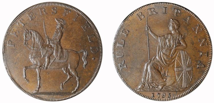 Peter Kempson, copper 1/2d mule, c1795 (D&H Hampshire 51)