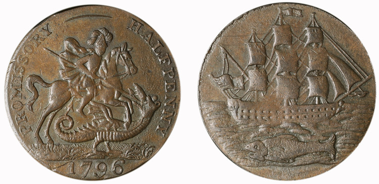 Salmon, Courtney, and Frost, copper 1/2d, 1796 (D&H Hampshire 80)