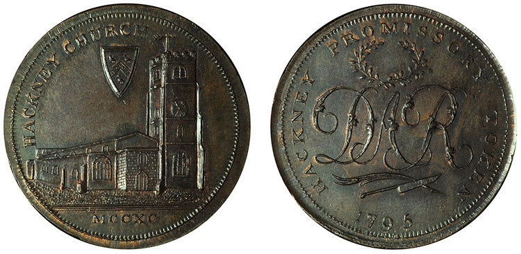 Skidmore, Copper Halfpenny, c1795, struck over a Macclesfield Halfpenny (D&H Middlesex 310)